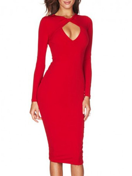 Red Bodycon Keyhole Solid Elegant Party Dress