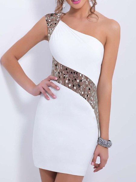 White Sequins Elegant One Shoulder Dress