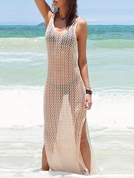 Beige Pierced Slit Solid Cover Up