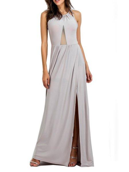 Khaki Sexy Slit Solid Backless Maxi Dress