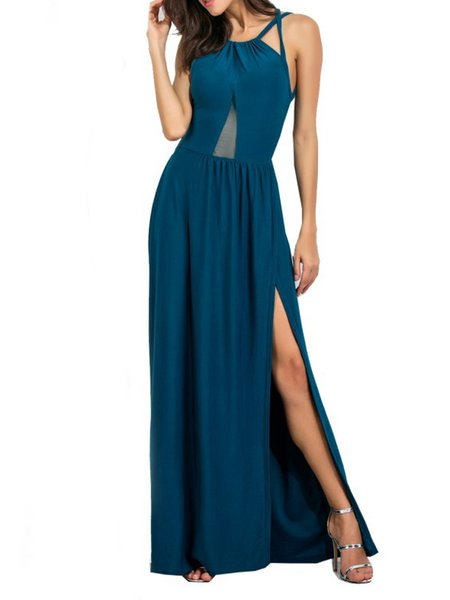 Blue Slit Open Back Sleeveless Maxi Dress