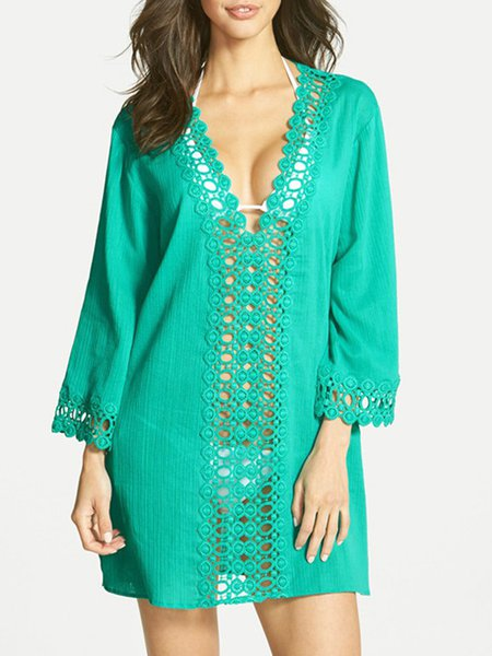 V Neck Pierced Polyester Solid Cover Up