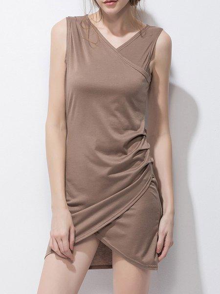 Brown Sleeveless Casual Asymmetric Dress