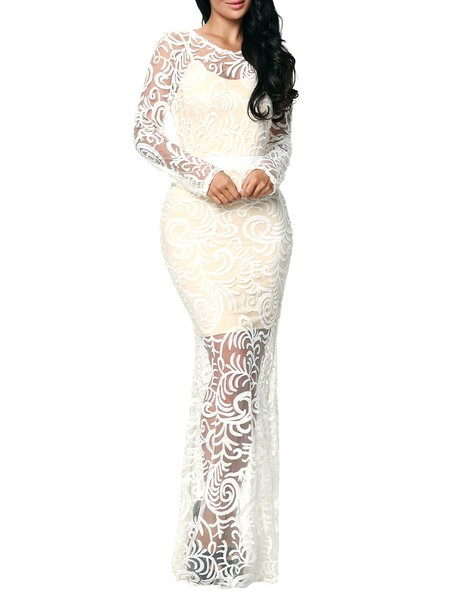 White Embroidered Lace Mermaid Evening Dress