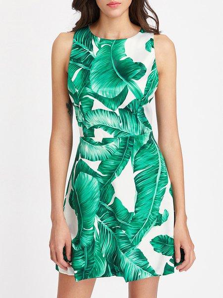 Green Palm Printed A-line Cutout Dress