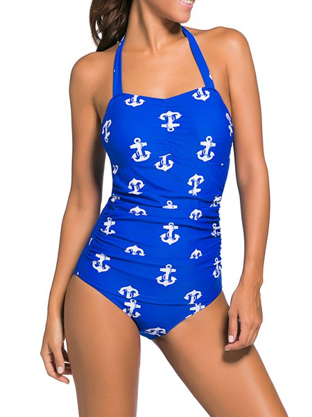 Blue Wireless Halter Printed One-piece