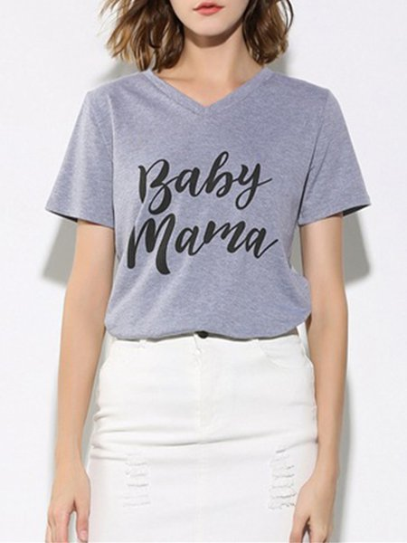 Gray V Neck Letter Printed Basic T-Shirt