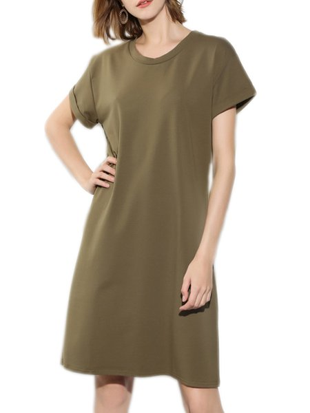 Army Green Solid Short Sleeve Dress