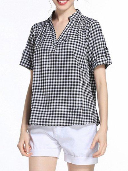 Black-white Checkered/Plaid Short Sleeve Shirts & Blouse ...