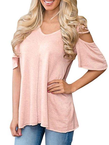 Pink Solid Short Sleeve Cold Shoulder Top