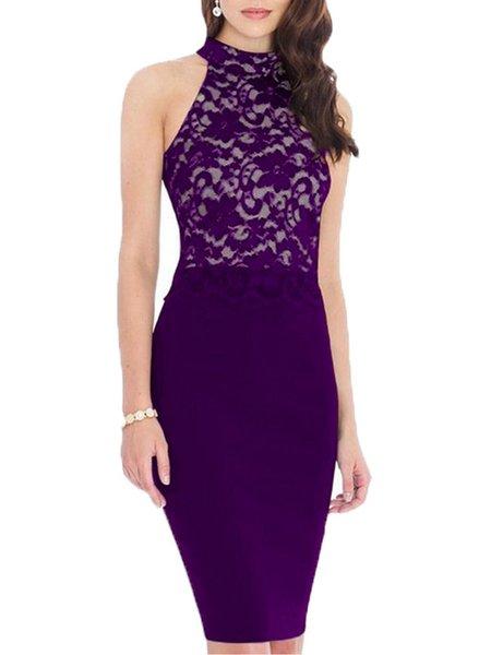Purple Paneled Elegant Sleeveless Lace Dress