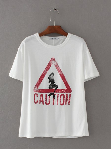 Letter Printed Short Sleeve H-line T-Shirt