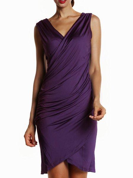 Purple Gathered Elegant Surplice Neck Dress