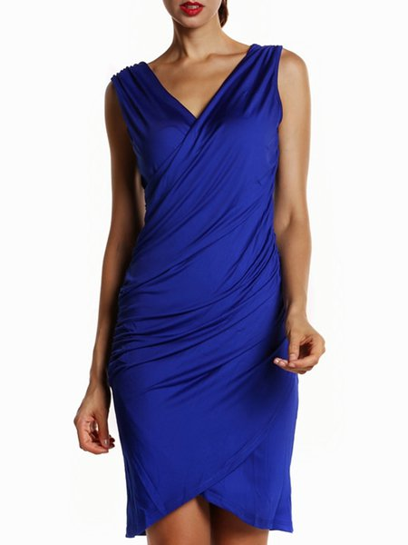 Royal Blue Sleeveless Gathered Solid V Neck Cocktail Dress