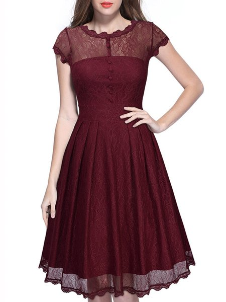 Wine Red Solid Pleated A-line Lace Cocktail Party Dress