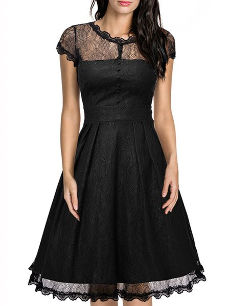 Black Solid Pleated A-line Lace Cocktail Party Dress