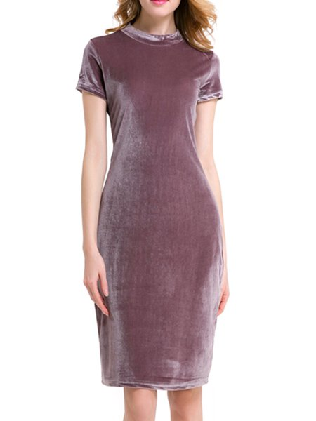 Deep Pink Velvet Short Sleeve Cocktail Dress