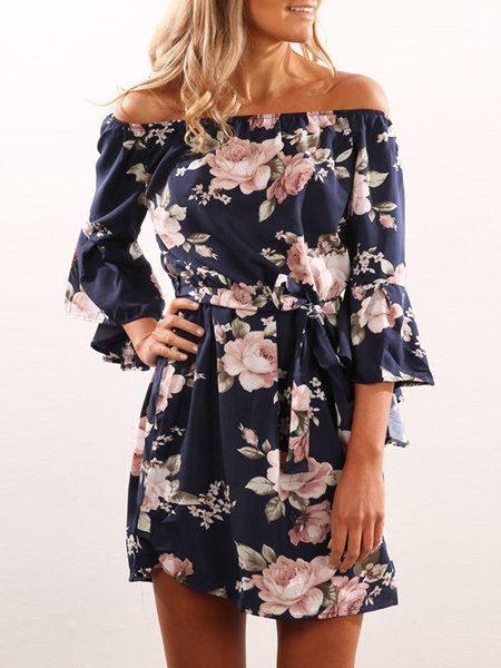 Blue Printed Casual Floral Casual Dress with Belt