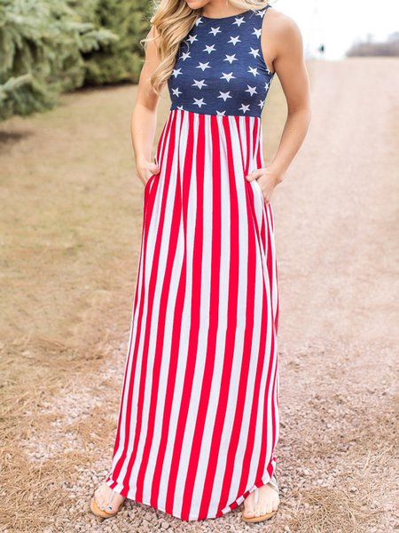 Red Sleeveless Pockets Stripes Maxi Dress