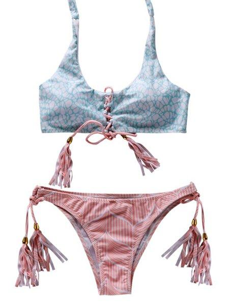 Pink Lace Up Floral Straped Printed Bikini