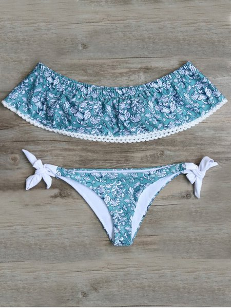 Aqua Off Shoulder Wireless Printed Bikini