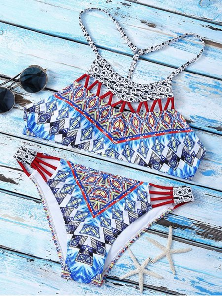 Blue Padded Racerback Cut-outs Printed Bikini