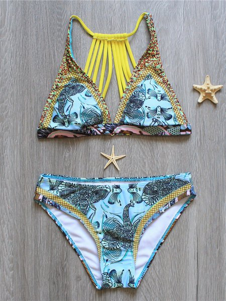 Blue Caged Printed Wireless Bikini