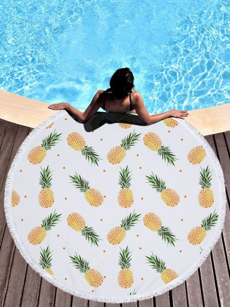 Yellow Pineapple Printed Fringed Tapestry
