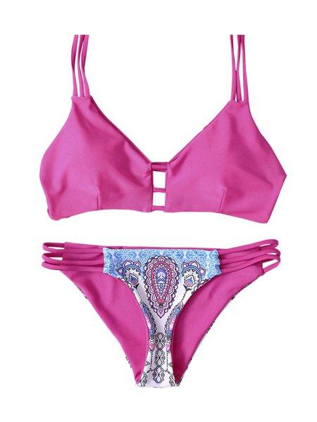 Fuchsia Ladder Bralette Printed Bikini