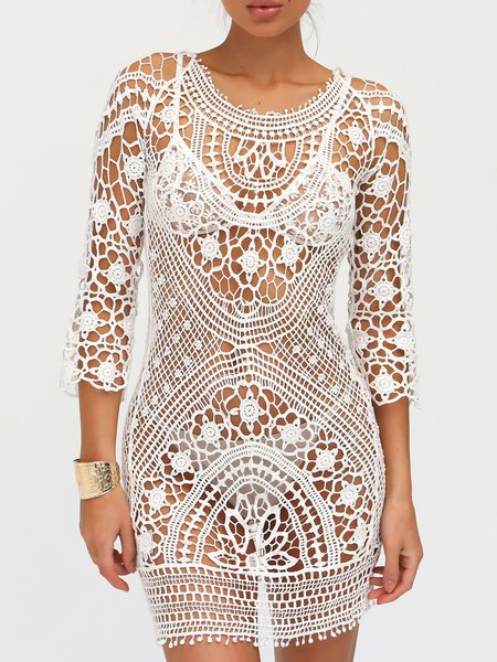 White Crocheted 3/4 Sleeve Open Back Cover Up