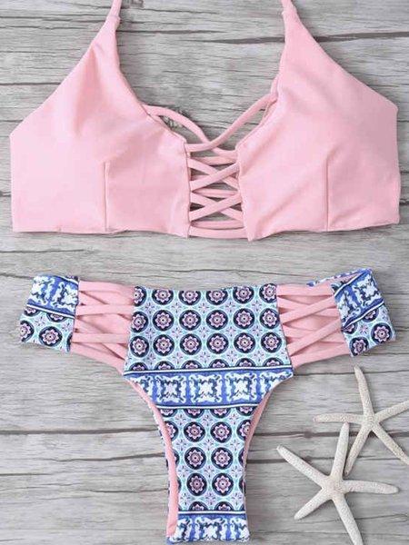 Pink Cross Straped Printed Padded Bikini