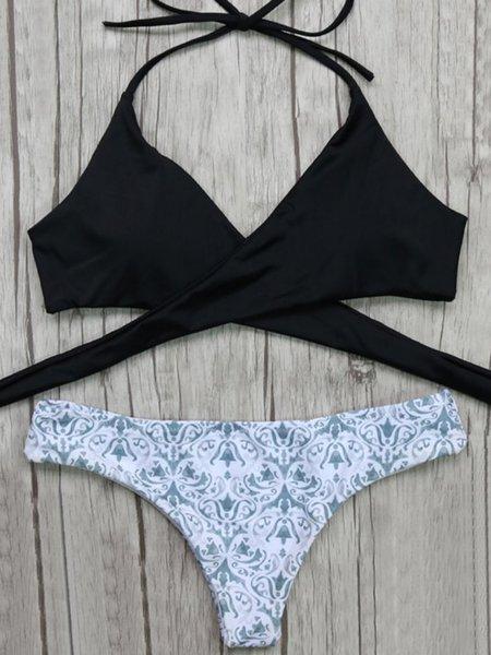 Black-white Wrap Halter Padded Bikini