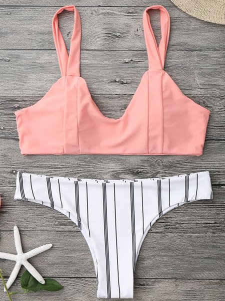 Orange Wireless Stripes Straped Bralette Bikini