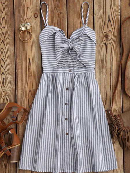 Light Blue Sweetheart Knotted Sexy Stripes Dress