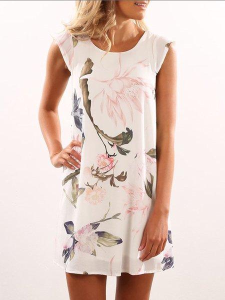 White Sleeveless Floral-print Summer Dress