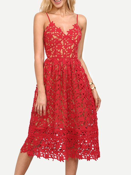 Red Crocheted Spaghetti Lace Casual Dress