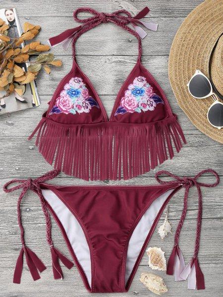 Red Polyester Fringes Floral Halter Bikini