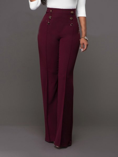 Burgundy Casual Solid Buttoned Pants