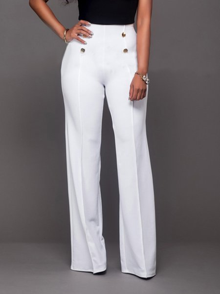 White Solid Casual Buttoned Pants