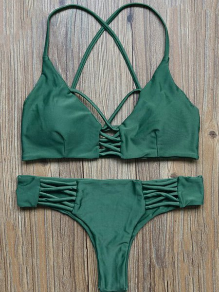 Green Caged Solid Wireless Straped Bikini
