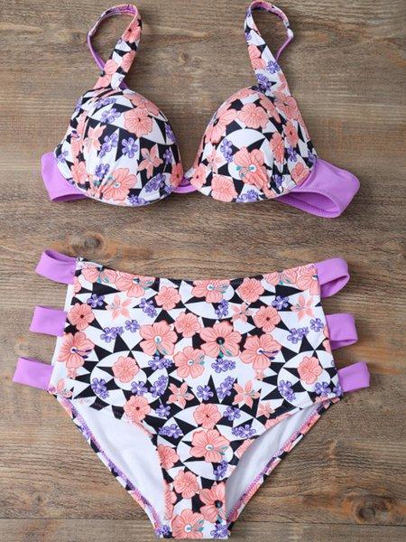 Lavender Underwire Cut-outs Floral Bikini