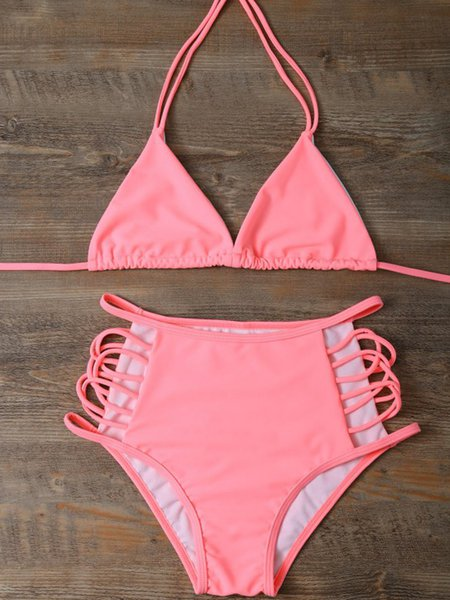Pink Solid Ladder High-waisted Polyester Bikini