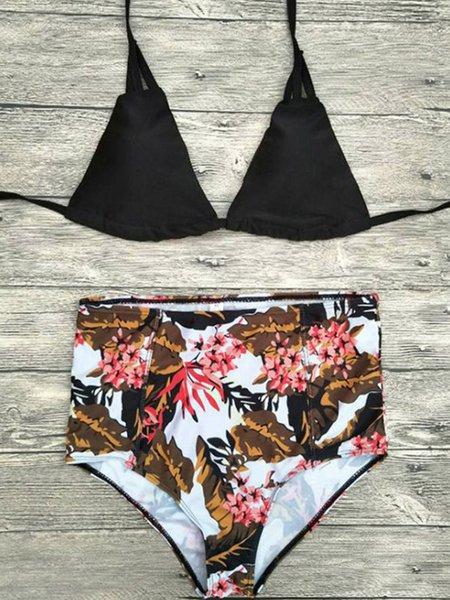 Multicolor Halter High Rise Polyester Bikini