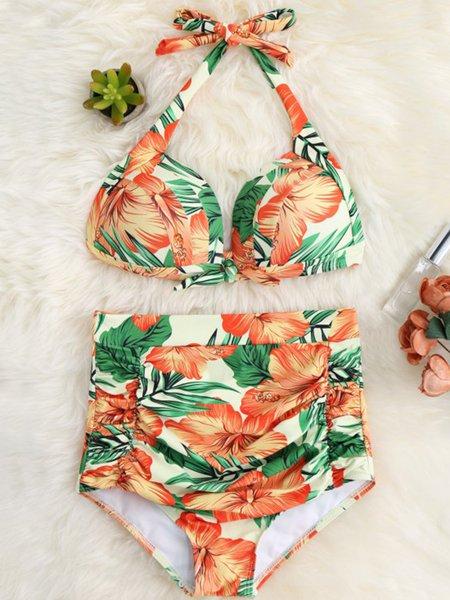 Orange High-waisted Printed Wireless Bikini