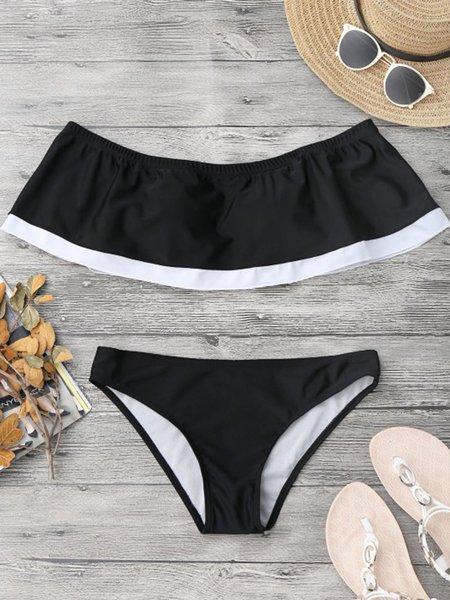Black Polyester Off Shoulder Bikini