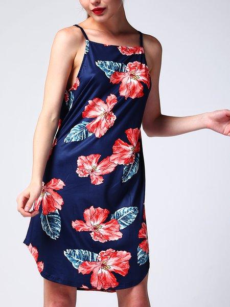 Blue Floral Halter Sleeveless Printed A-line Dress