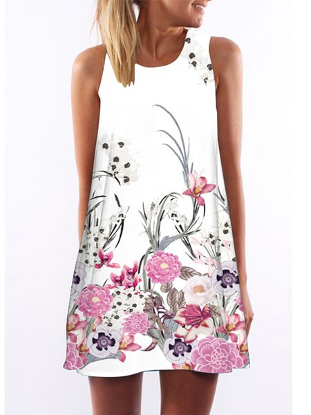White Floral Sleeveless Casual Printed Mini Dress