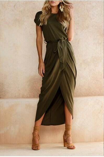 Army Green Short Sleeve Solid Slit High Low Maxi Dress