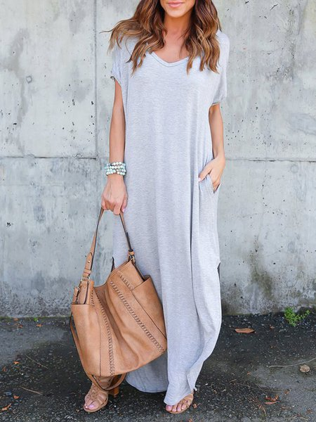 Gray Solid V Neck Short Sleeve Simple Maxi Dress