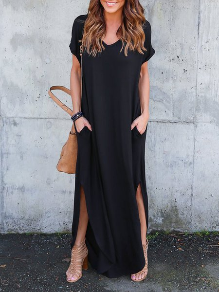Black Short Sleeve V Neck Pockets Maxi Dress
